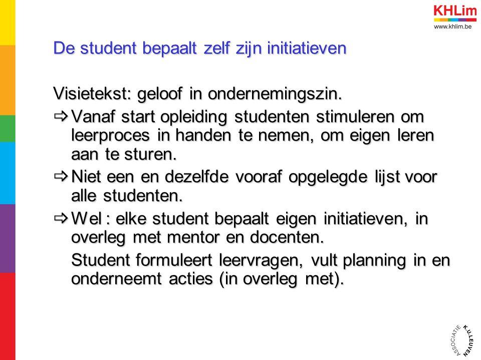 De student bepaalt zelf zijn initiatieven Visietekst: geloof in ondernemingszin.