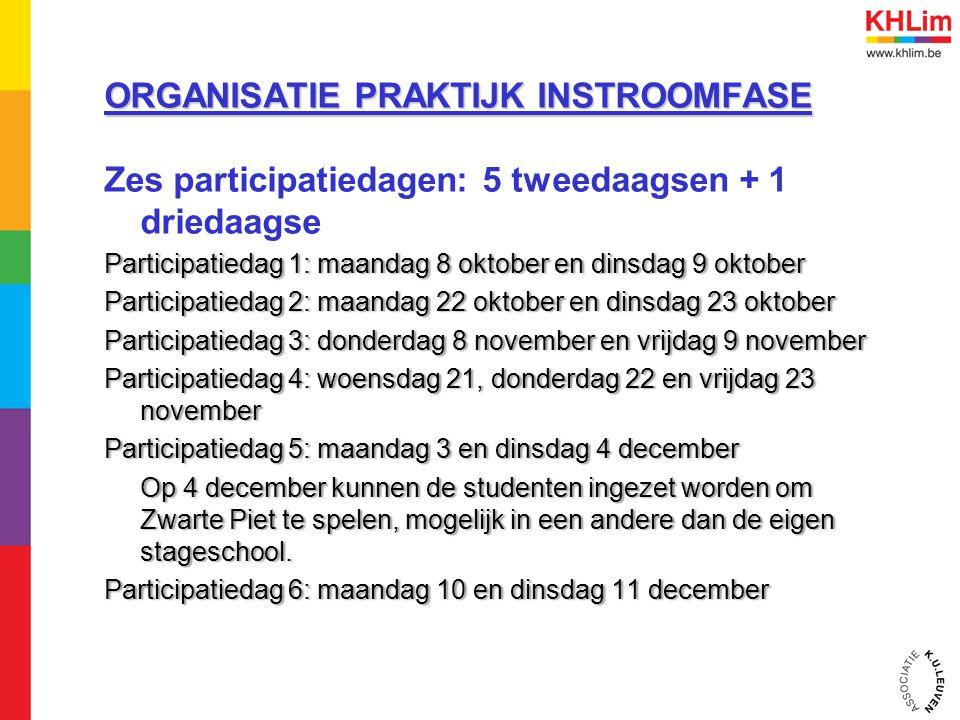 ORGANISATIE PRAKTIJK INSTROOMFASE Zes participatiedagen: 5 tweedaagsen + 1 driedaagse Participatiedag 1: maandag 8 oktober en dinsdag 9 oktoberParticipatiedag 1: maandag 8 oktober en dinsdag 9 oktober Participatiedag 2: maandag 22 oktober en dinsdag 23 oktoberParticipatiedag 2: maandag 22 oktober en dinsdag 23 oktober Participatiedag 3: donderdag 8 november en vrijdag 9 novemberParticipatiedag 3: donderdag 8 november en vrijdag 9 november Participatiedag 4: woensdag 21, donderdag 22 en vrijdag 23 november Participatiedag 5: maandag 3 en dinsdag 4 decemberParticipatiedag 5: maandag 3 en dinsdag 4 december Op 4 december kunnen de studenten ingezet worden om Zwarte Piet te spelen, mogelijk in een andere dan de eigen stageschool.