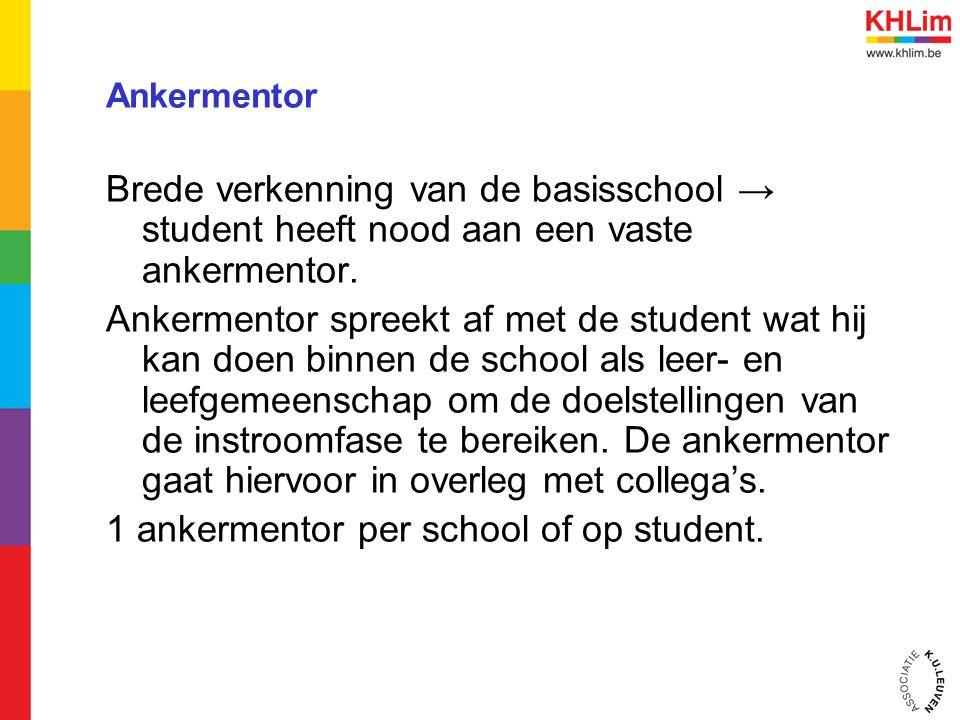Ankermentor Brede verkenning van de basisschool → student heeft nood aan een vaste ankermentor. Ankermentor spreekt af met de student wat hij kan doen