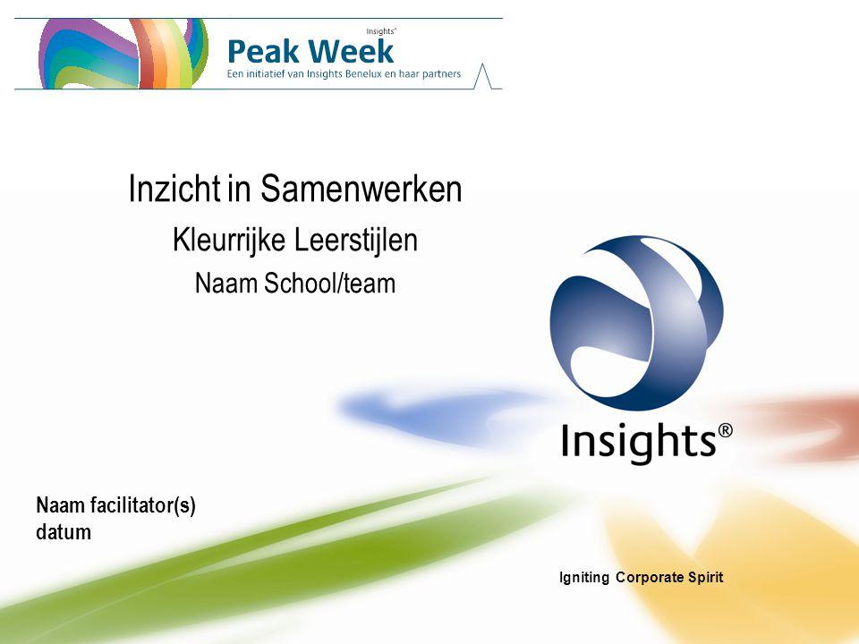 Igniting Corporate Spirit Inzicht in Samenwerken Kleurrijke Leerstijlen Naam School/team Naam facilitator(s) datum