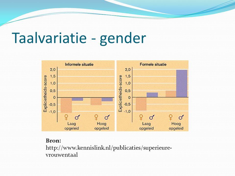 Taalvariatie - gender Bron: http://www.kennislink.nl/publicaties/superieure- vrouwentaal