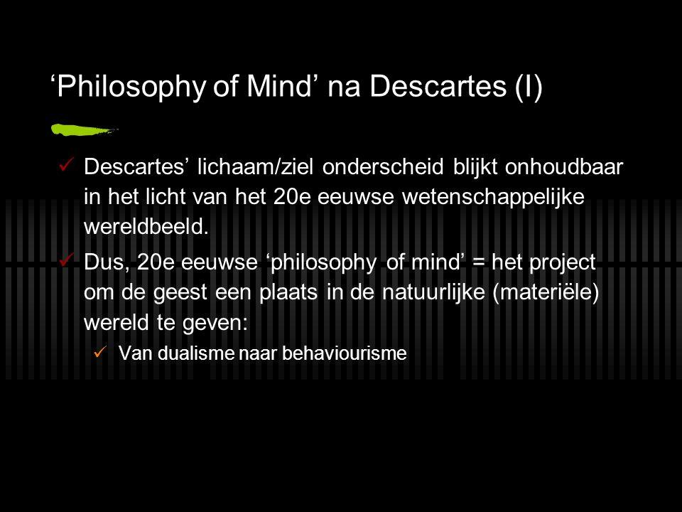 'Philosophy of Mind' na Descartes (I) Descartes' lichaam/ziel onderscheid blijkt onhoudbaar in het licht van het 20e eeuwse wetenschappelijke wereldbe