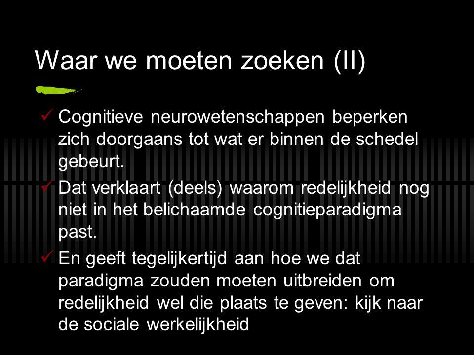 Waar we moeten zoeken (II) Cognitieve neurowetenschappen beperken zich doorgaans tot wat er binnen de schedel gebeurt. Dat verklaart (deels) waarom re