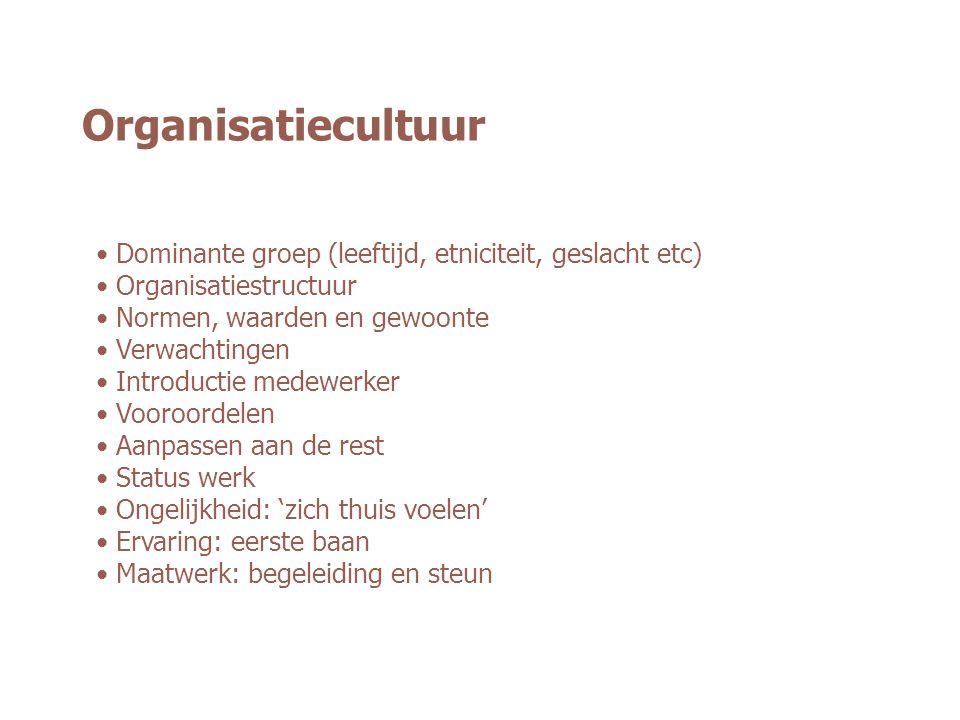 Organisatiecultuur Dominante groep (leeftijd, etniciteit, geslacht etc) Organisatiestructuur Normen, waarden en gewoonte Verwachtingen Introductie med