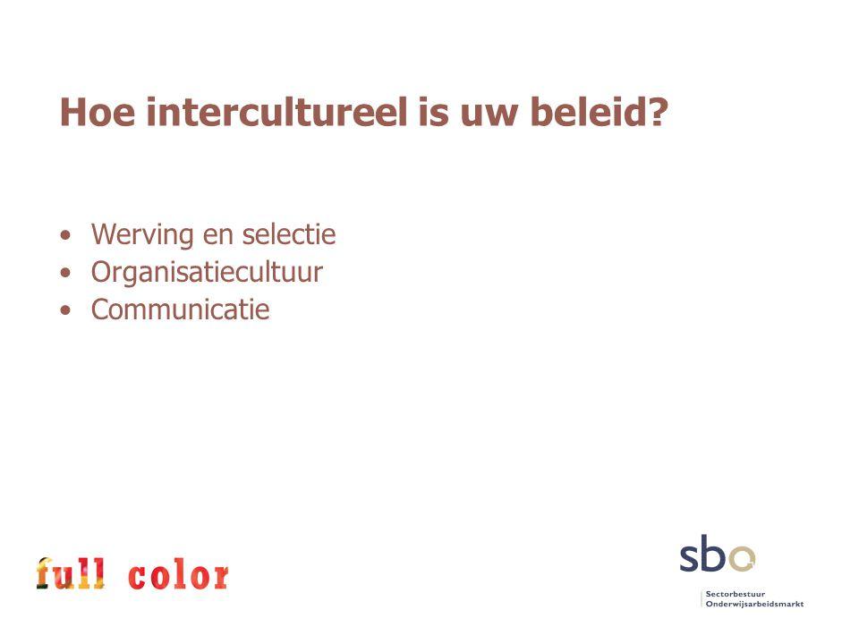 Hoe intercultureel is uw beleid? Werving en selectie Organisatiecultuur Communicatie