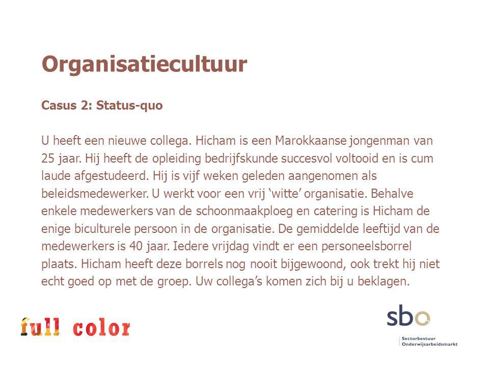 Organisatiecultuur Casus 2: Status-quo U heeft een nieuwe collega. Hicham is een Marokkaanse jongenman van 25 jaar. Hij heeft de opleiding bedrijfskun