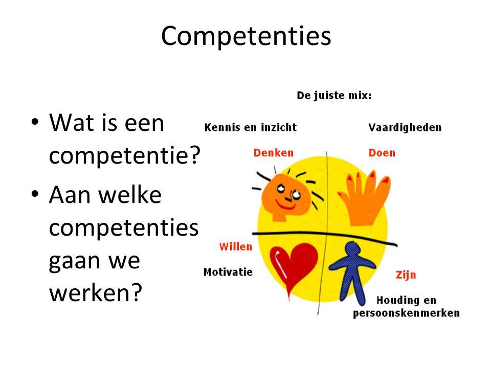 Competenties Wat is een competentie? Aan welke competenties gaan we werken?