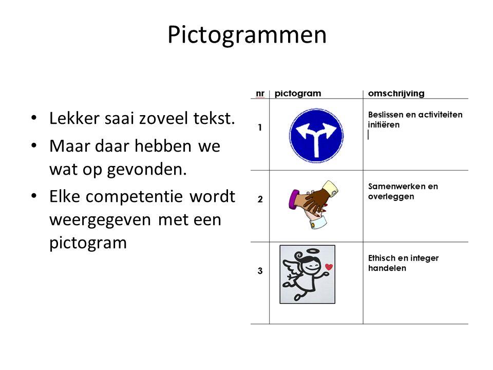 Pictogrammen Lekker saai zoveel tekst.Maar daar hebben we wat op gevonden.