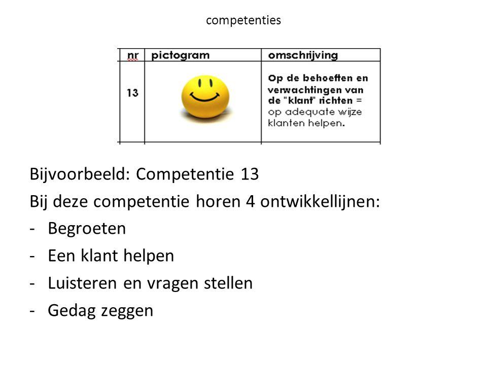 competenties Bijvoorbeeld: Competentie 13 Bij deze competentie horen 4 ontwikkellijnen: -Begroeten -Een klant helpen -Luisteren en vragen stellen -Gedag zeggen