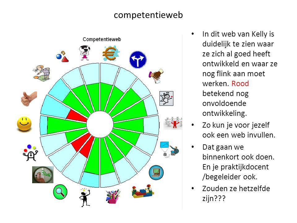 competentieweb In dit web van Kelly is duidelijk te zien waar ze zich al goed heeft ontwikkeld en waar ze nog flink aan moet werken.