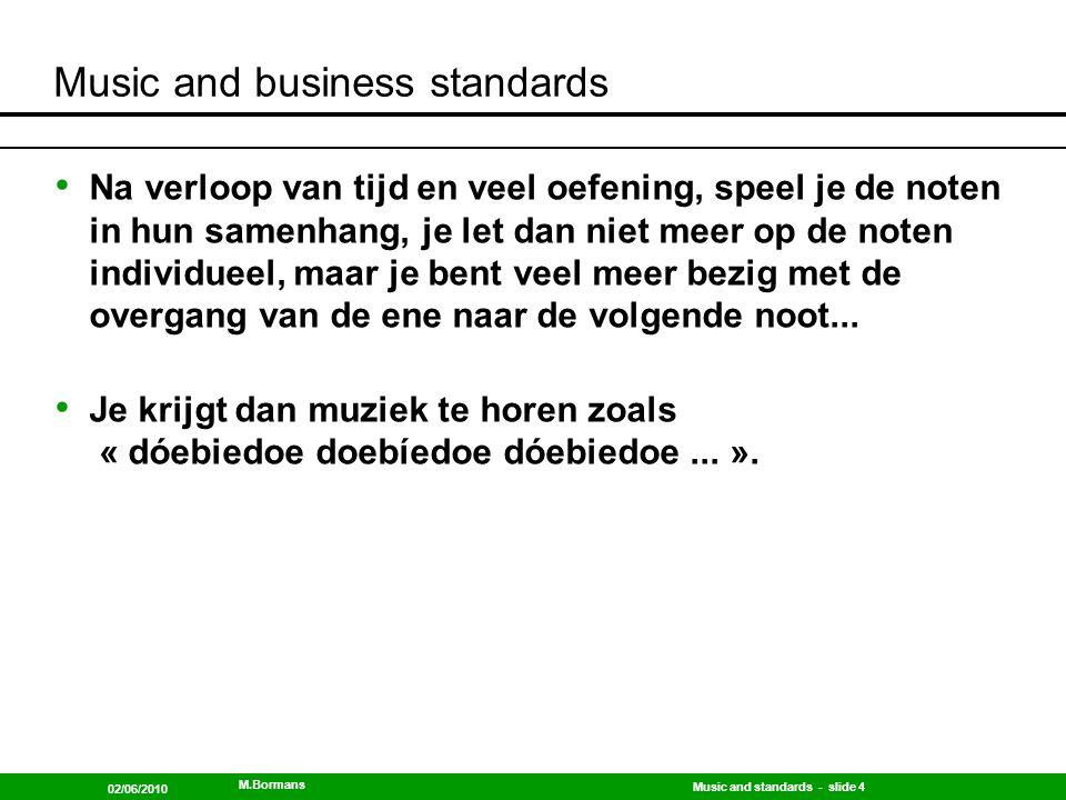 Music and standards - slide 5 02/06/2010 M.Bormans Music and business standards Als sector leer je de noten, en dat zijn dan in deze analogie de standaarden, waaronder de in-company standaarden, en de sectorale standaard(en), en de historische standaard(en), en...