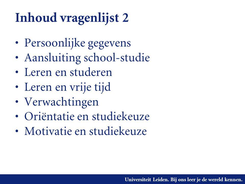 Universiteit Leiden. Bij ons leer je de wereld kennen. Inhoud vragenlijst 2 Persoonlijke gegevens Aansluiting school-studie Leren en studeren Leren en
