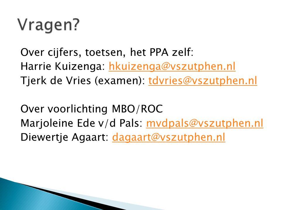 Over cijfers, toetsen, het PPA zelf: Harrie Kuizenga: hkuizenga@vszutphen.nlhkuizenga@vszutphen.nl Tjerk de Vries (examen): tdvries@vszutphen.nltdvrie