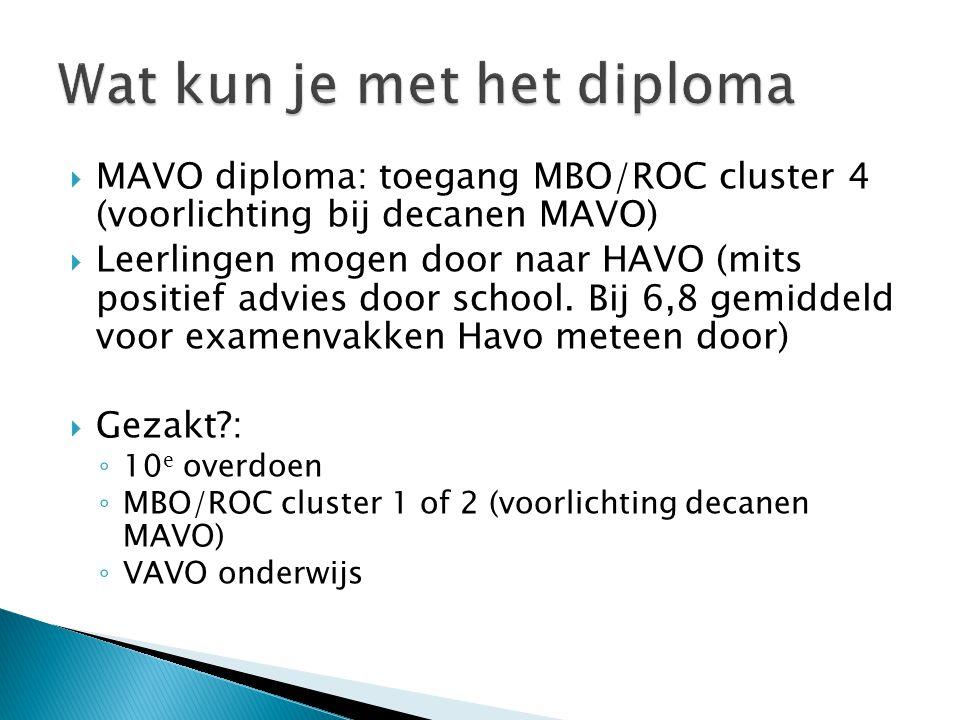  MAVO diploma: toegang MBO/ROC cluster 4 (voorlichting bij decanen MAVO)  Leerlingen mogen door naar HAVO (mits positief advies door school. Bij 6,8