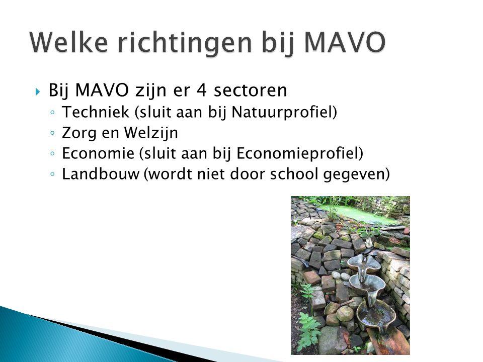  Bij MAVO zijn er 4 sectoren ◦ Techniek (sluit aan bij Natuurprofiel) ◦ Zorg en Welzijn ◦ Economie (sluit aan bij Economieprofiel) ◦ Landbouw (wordt