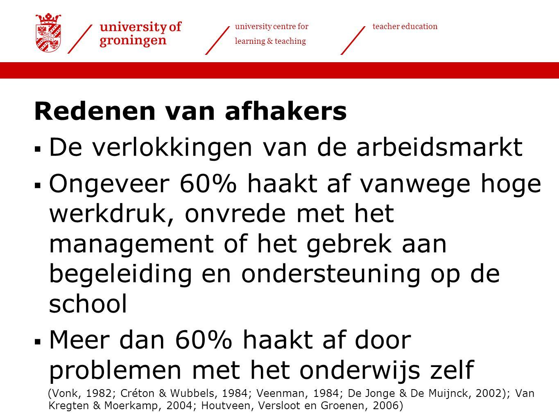 university centre for learning & teaching teacher education Redenen van afhakers  De verlokkingen van de arbeidsmarkt  Ongeveer 60% haakt af vanwege