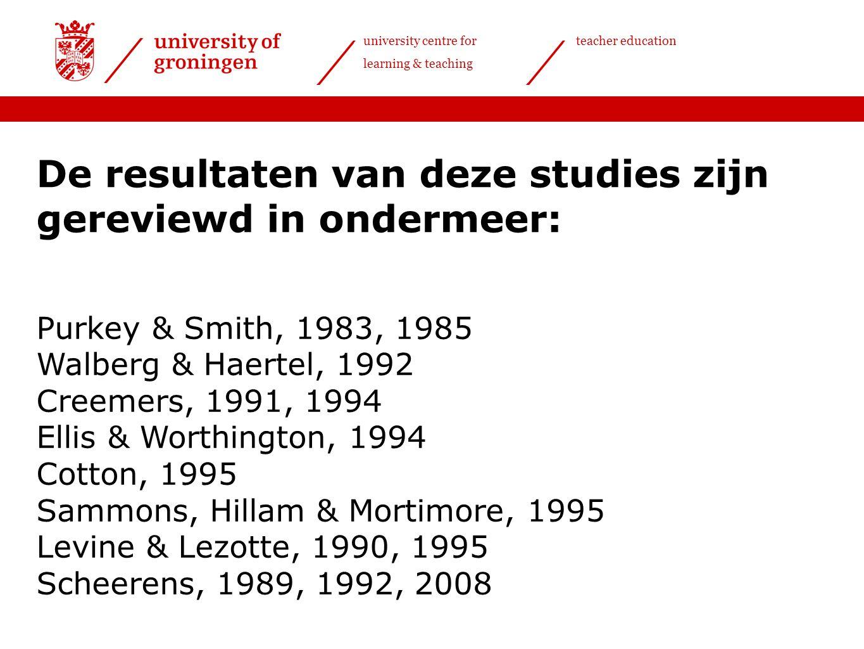 university centre for learning & teaching teacher education De resultaten van deze studies zijn gereviewd in ondermeer: Purkey & Smith, 1983, 1985 Wal