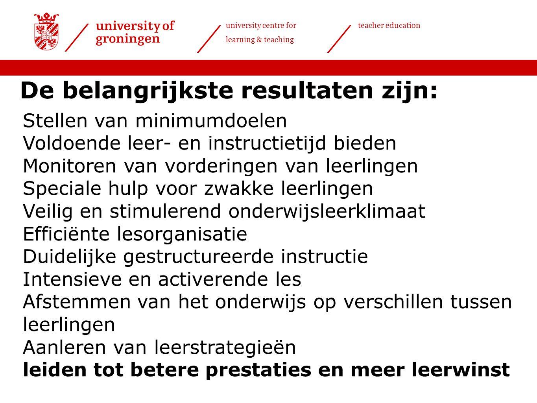 university centre for learning & teaching teacher education De belangrijkste resultaten zijn: Stellen van minimumdoelen Voldoende leer- en instructiet