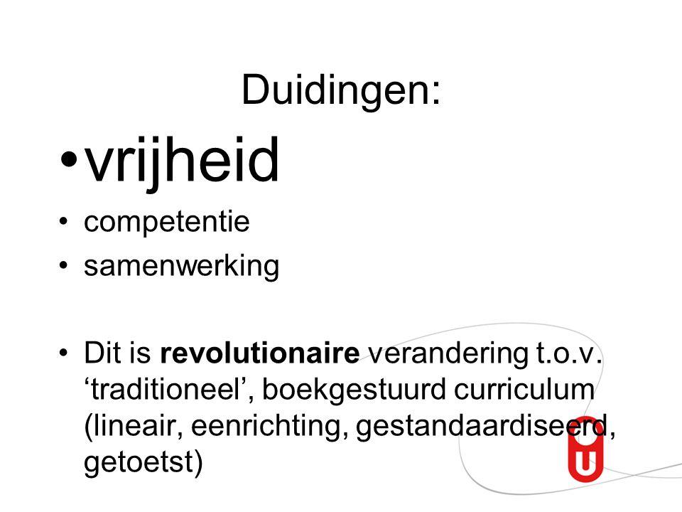 Duidingen: vrijheid competentie samenwerking Dit is revolutionaire verandering t.o.v.