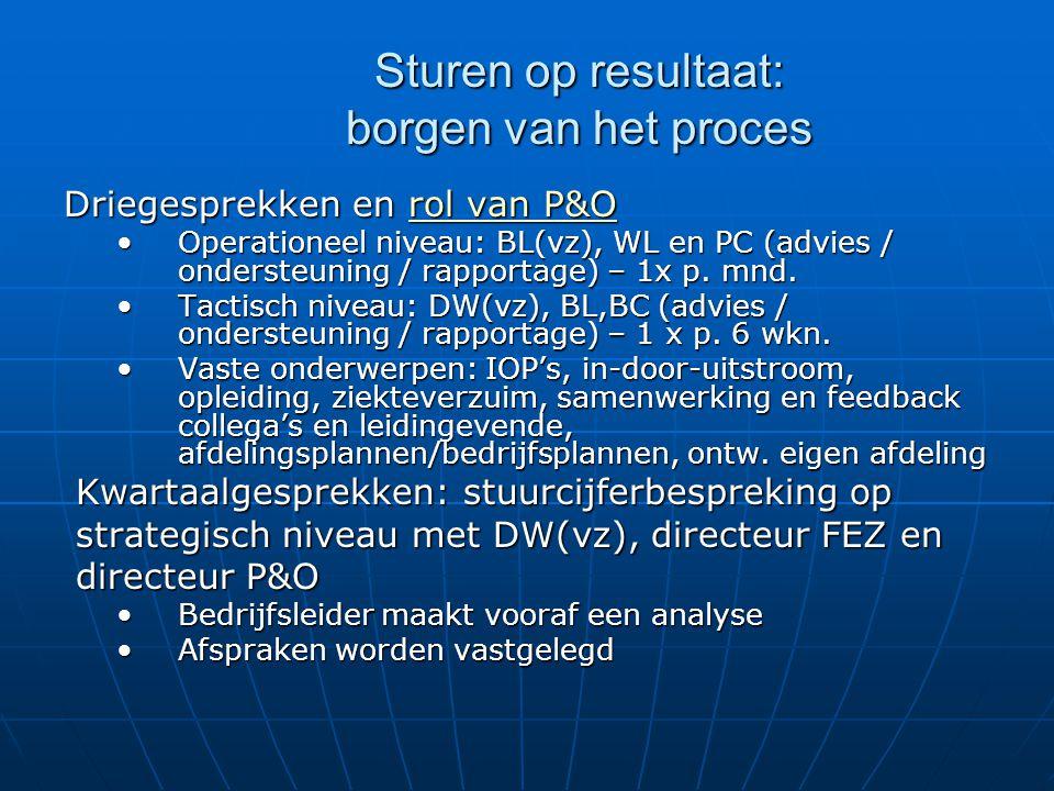 Sturen op resultaat: borgen van het proces Driegesprekken en rol van P&O Operationeel niveau: BL(vz), WL en PC (advies / ondersteuning / rapportage) –