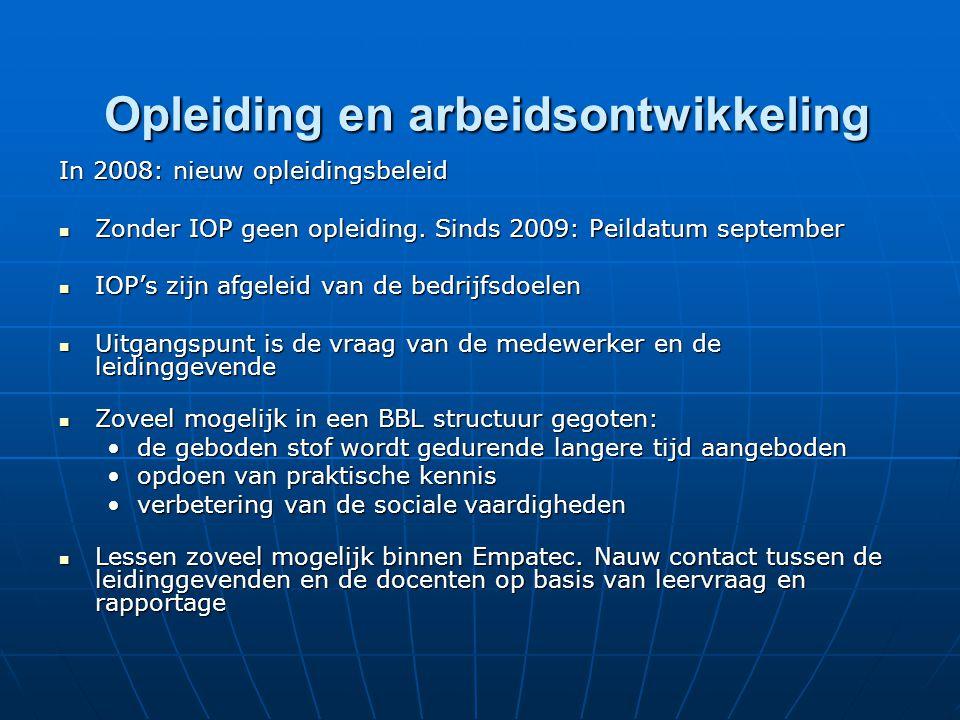 Opleiding en arbeidsontwikkeling Opleiding en arbeidsontwikkeling In 2008: nieuw opleidingsbeleid Zonder IOP geen opleiding. Sinds 2009: Peildatum sep