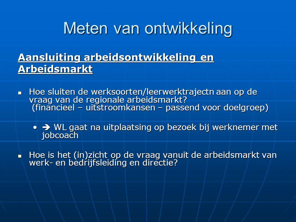 Meten van ontwikkeling Aansluiting arbeidsontwikkeling en Arbeidsmarkt Hoe sluiten de werksoorten/leerwerktrajectn aan op de vraag van de regionale ar