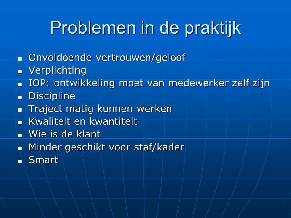 Problemen in de praktijk Onvoldoende vertrouwen/geloof Onvoldoende vertrouwen/geloof Verplichting Verplichting IOP: ontwikkeling moet van medewerker z