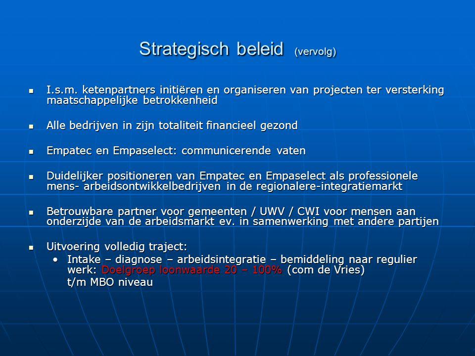Strategisch beleid (vervolg) I.s.m. ketenpartners initiëren en organiseren van projecten ter versterking maatschappelijke betrokkenheid I.s.m. ketenpa