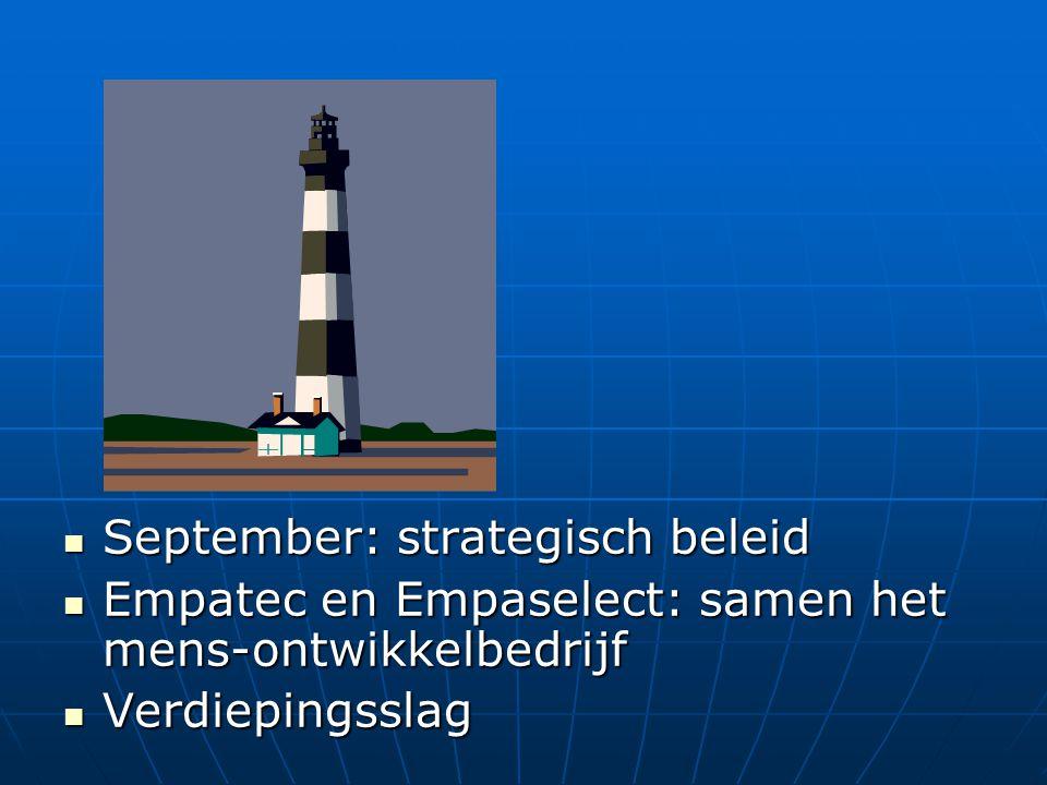 September: strategisch beleid September: strategisch beleid Empatec en Empaselect: samen het mens-ontwikkelbedrijf Empatec en Empaselect: samen het me