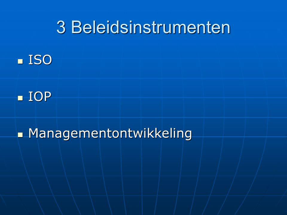 Beleidsinstrumenten: ISO Kwaliteitsmanagementsysteem: voortdurend verbeteren van kwaliteit van producten, diensten en processen d.m.v.