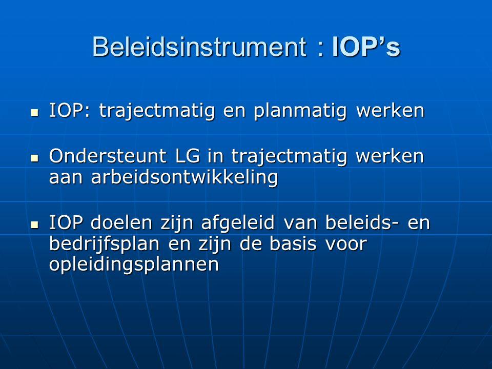 Beleidsinstrument : IOP's IOP: trajectmatig en planmatig werken IOP: trajectmatig en planmatig werken Ondersteunt LG in trajectmatig werken aan arbeid