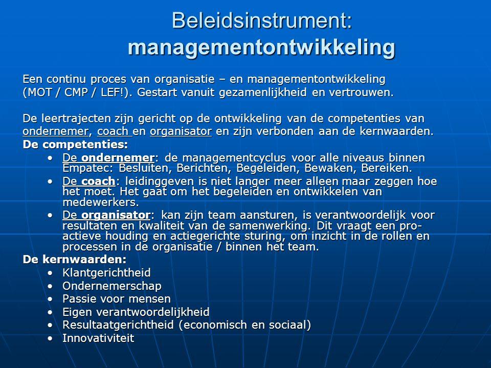 Beleidsinstrument: managementontwikkeling Een continu proces van organisatie – en managementontwikkeling (MOT / CMP / LEF!). Gestart vanuit gezamenlij
