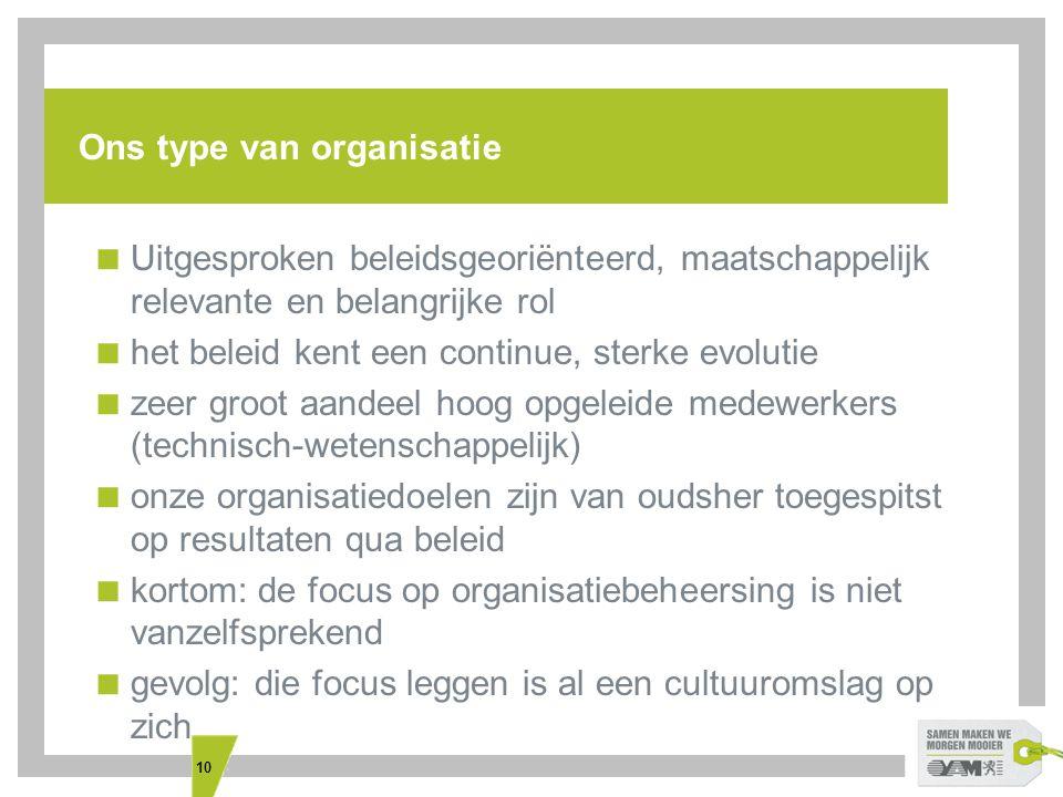 10 Ons type van organisatie  Uitgesproken beleidsgeoriënteerd, maatschappelijk relevante en belangrijke rol  het beleid kent een continue, sterke ev