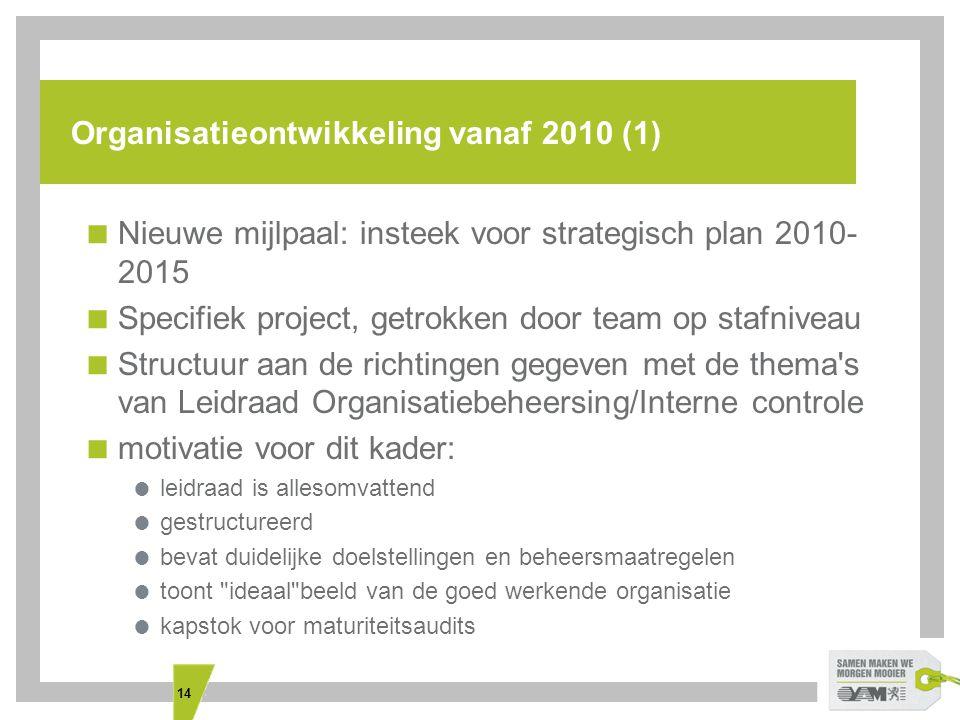 14 Organisatieontwikkeling vanaf 2010 (1)  Nieuwe mijlpaal: insteek voor strategisch plan 2010- 2015  Specifiek project, getrokken door team op stafniveau  Structuur aan de richtingen gegeven met de thema s van Leidraad Organisatiebeheersing/Interne controle  motivatie voor dit kader:  leidraad is allesomvattend  gestructureerd  bevat duidelijke doelstellingen en beheersmaatregelen  toont ideaal beeld van de goed werkende organisatie  kapstok voor maturiteitsaudits