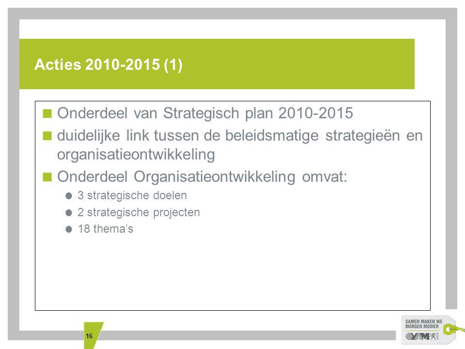 16 Acties 2010-2015 (1)  Onderdeel van Strategisch plan 2010-2015  duidelijke link tussen de beleidsmatige strategieën en organisatieontwikkeling  Onderdeel Organisatieontwikkeling omvat:  3 strategische doelen  2 strategische projecten  18 thema's