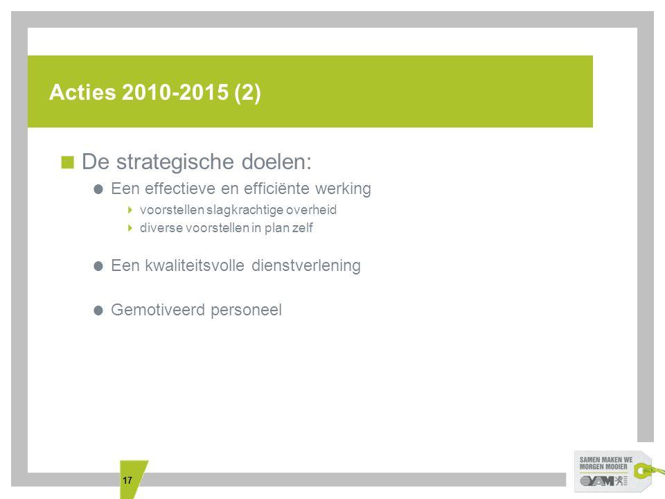 17 Acties 2010-2015 (2)  De strategische doelen:  Een effectieve en efficiënte werking  voorstellen slagkrachtige overheid  diverse voorstellen in plan zelf  Een kwaliteitsvolle dienstverlening  Gemotiveerd personeel
