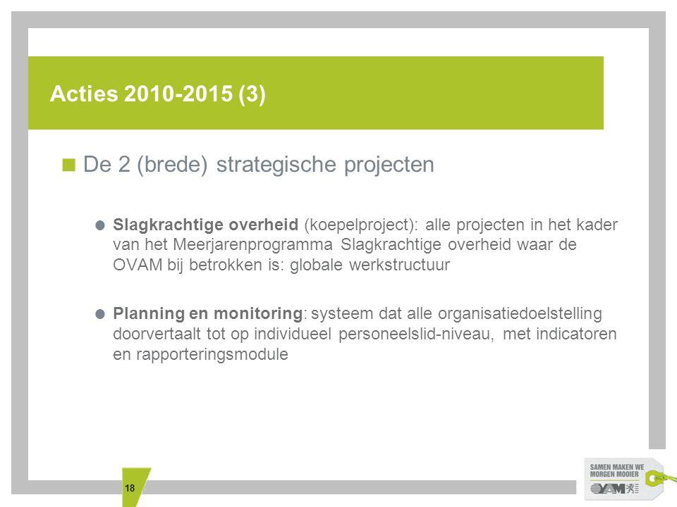 18 Acties 2010-2015 (3)  De 2 (brede) strategische projecten  Slagkrachtige overheid (koepelproject): alle projecten in het kader van het Meerjarenp