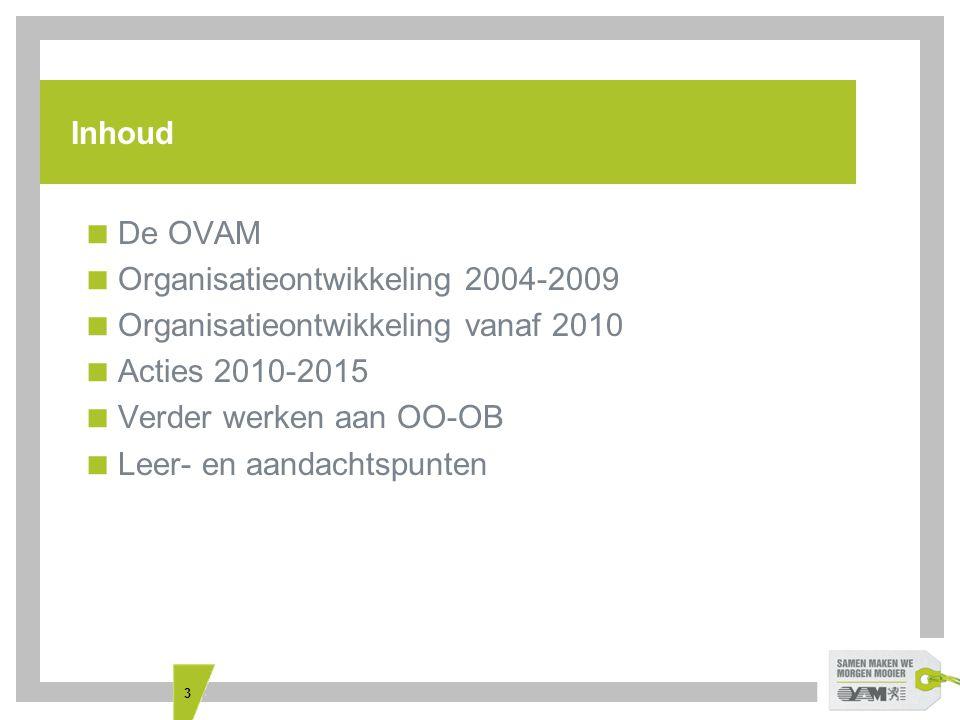 3 Inhoud  De OVAM  Organisatieontwikkeling 2004-2009  Organisatieontwikkeling vanaf 2010  Acties 2010-2015  Verder werken aan OO-OB  Leer- en aa