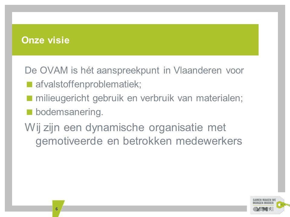 6 Onze visie De OVAM is hét aanspreekpunt in Vlaanderen voor  afvalstoffenproblematiek;  milieugericht gebruik en verbruik van materialen;  bodemsanering.