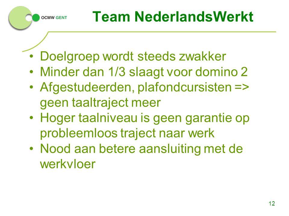 12 Team NederlandsWerkt Doelgroep wordt steeds zwakker Minder dan 1/3 slaagt voor domino 2 Afgestudeerden, plafondcursisten => geen taaltraject meer H