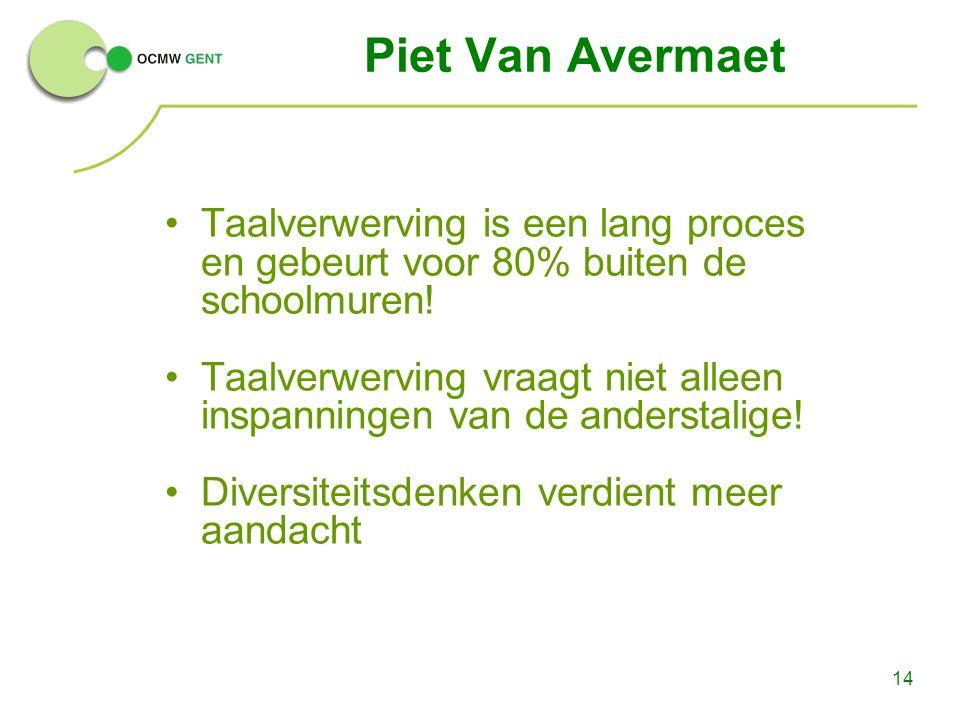 14 Piet Van Avermaet Taalverwerving is een lang proces en gebeurt voor 80% buiten de schoolmuren! Taalverwerving vraagt niet alleen inspanningen van d