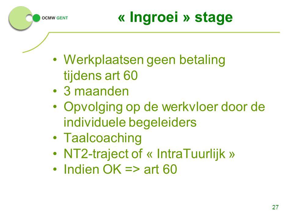 27 « Ingroei » stage Werkplaatsen geen betaling tijdens art 60 3 maanden Opvolging op de werkvloer door de individuele begeleiders Taalcoaching NT2-tr