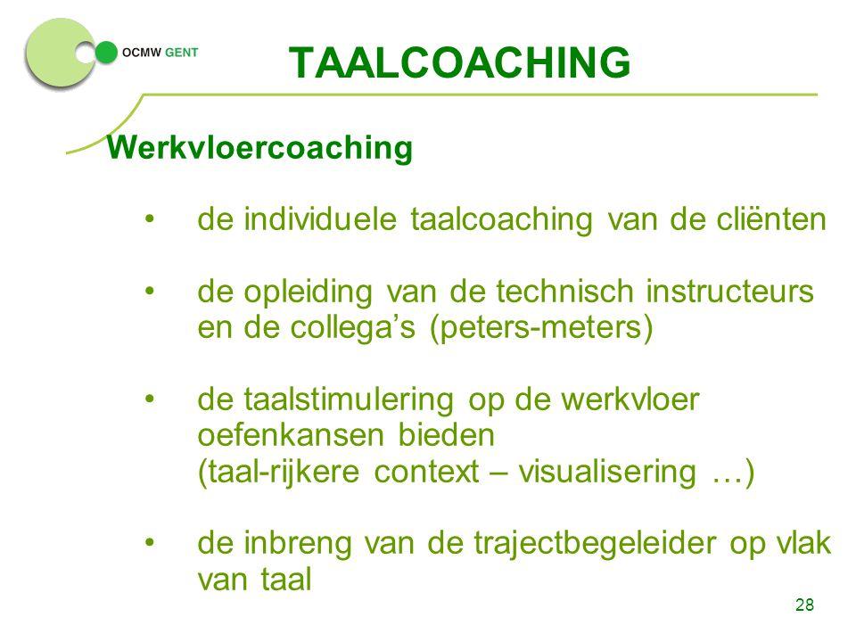 28 TAALCOACHING Werkvloercoaching de individuele taalcoaching van de cliënten de opleiding van de technisch instructeurs en de collega's (peters-meter