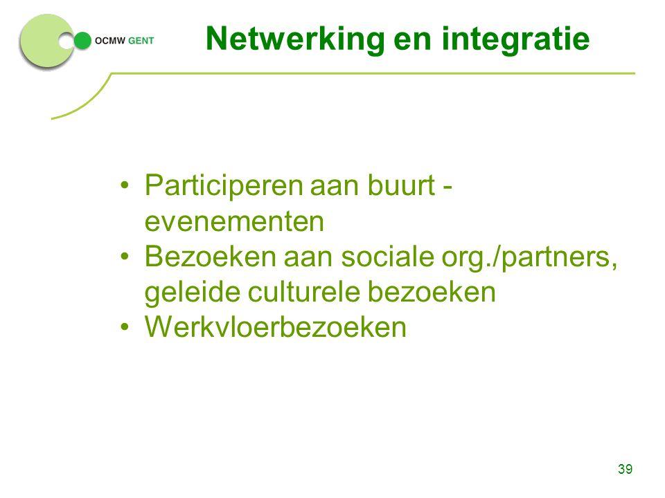 39 Netwerking en integratie Participeren aan buurt - evenementen Bezoeken aan sociale org./partners, geleide culturele bezoeken Werkvloerbezoeken