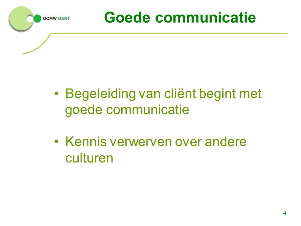 4 Goede communicatie Begeleiding van cliënt begint met goede communicatie Kennis verwerven over andere culturen