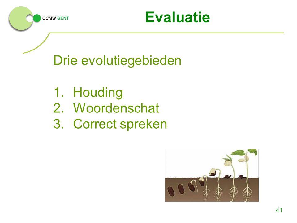 41 Evaluatie Drie evolutiegebieden 1.Houding 2.Woordenschat 3.Correct spreken