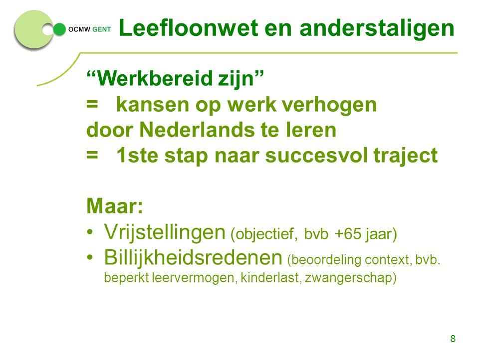 """8 Leefloonwet en anderstaligen """"Werkbereid zijn"""" = kansen op werk verhogen door Nederlands te leren = 1ste stap naar succesvol traject Maar: Vrijstell"""