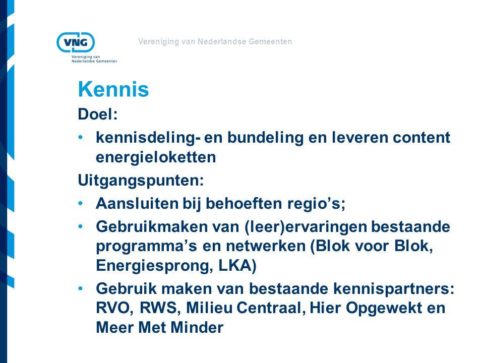 Vereniging van Nederlandse Gemeenten Kennis Doel: kennisdeling- en bundeling en leveren content energieloketten Uitgangspunten: Aansluiten bij behoeften regio's; Gebruikmaken van (leer)ervaringen bestaande programma's en netwerken (Blok voor Blok, Energiesprong, LKA) Gebruik maken van bestaande kennispartners: RVO, RWS, Milieu Centraal, Hier Opgewekt en Meer Met Minder