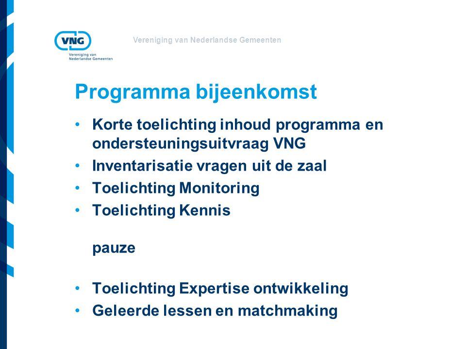 Vereniging van Nederlandse Gemeenten Programma bijeenkomst Korte toelichting inhoud programma en ondersteuningsuitvraag VNG Inventarisatie vragen uit
