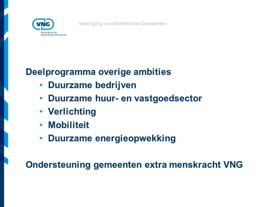 Vereniging van Nederlandse Gemeenten Deelprogramma overige ambities Duurzame bedrijven Duurzame huur- en vastgoedsector Verlichting Mobiliteit Duurzame energieopwekking Ondersteuning gemeenten extra menskracht VNG